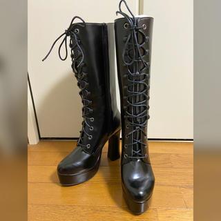黒 編み上げロングブーツ(ブーツ)