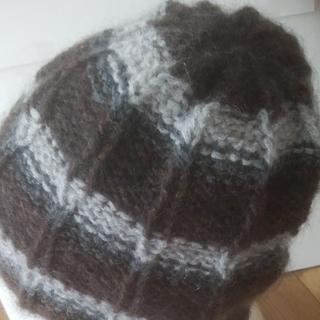 手編み 毛糸帽子【茶系モノトーン】(帽子)
