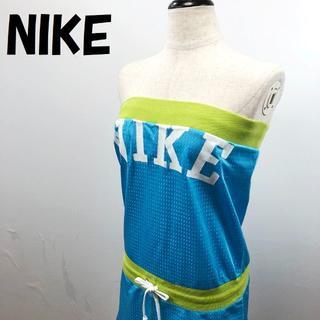 ナイキ(NIKE)の【人気】ナイキ ベアトップ ワンピース スポーツウェア ブルー×グリーン XS(ミニワンピース)