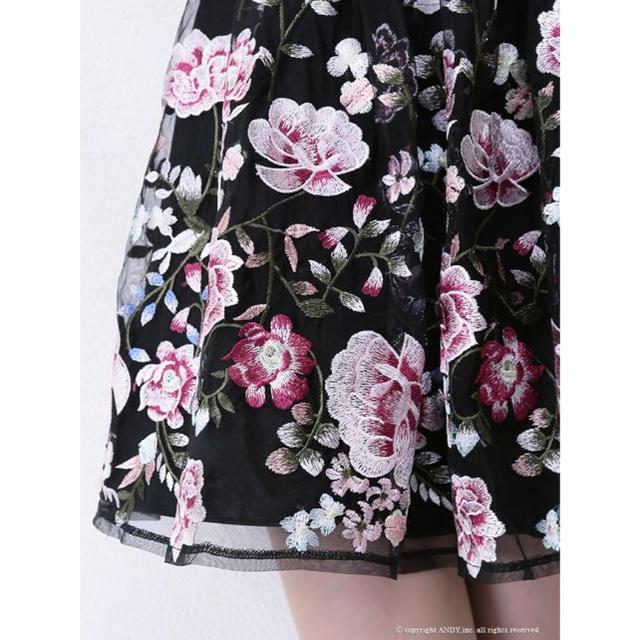 an(アン)の【an】門りょうちゃん着用!フラワー刺繍フレアミニドレス レディースのフォーマル/ドレス(ミニドレス)の商品写真