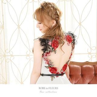 ROBE - 【ROBE de FLEURS/ローブドフルール】薔薇刺繍背中あきフレアドレス