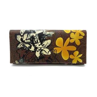 エトロ(ETRO)のエトロ 二つ折り 長財布 財布 ペイズリー フラワー 花 ペイント ブラウン(財布)