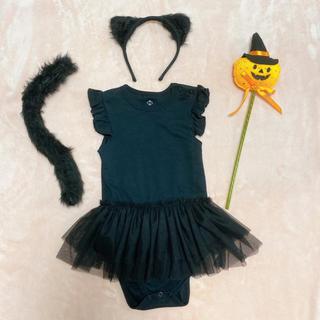 【美品】黒猫ハロウィーン衣装セット♡女の子 80 90(ロンパース)