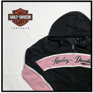 ハーレーダビッドソン(Harley Davidson)のHERLEYDAVIDSON ハーレーダビッドソン ジップパーカー 古着 黒(パーカー)