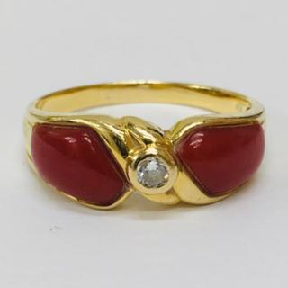 貴重 天然 血赤 珊瑚 ダイヤモンド K18ゴールドリング 指輪(リング(指輪))