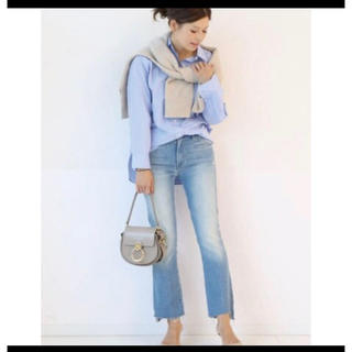DEUXIEME CLASSE - MOTHER LIGHT BLUE INSIDER CROP STEP FRAY