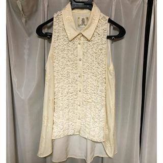 ラベルエチュード(la belle Etude)の白レースノースリーブフリルブラウス(シャツ/ブラウス(半袖/袖なし))