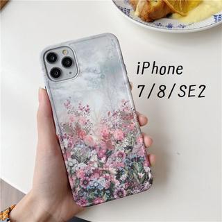 大人気! iPhone7 iPhone8 SE2対応 ケース 花畑 プリント(iPhoneケース)
