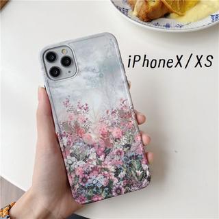 大人気! iPhoneX iPhoneXS ケース カバー 花畑 プリント(iPhoneケース)