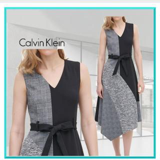 カルバンクライン(Calvin Klein)のカルバンクライン☆Aラインパッチワークワンピース(ひざ丈ワンピース)
