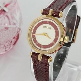 Gucci - 綺麗 グッチ ほぼ未使用 シェリー 純正レザー ローマン 着物 レディース腕時計