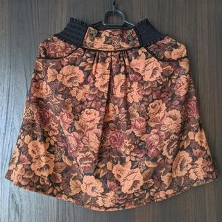 アクシーズファム(axes femme)のアクシーズファム レトロ 花柄 スカート M オレンジ レディース(ミニスカート)