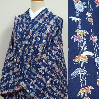 濃いブルーに竹と草花 洗える小紋(着物)