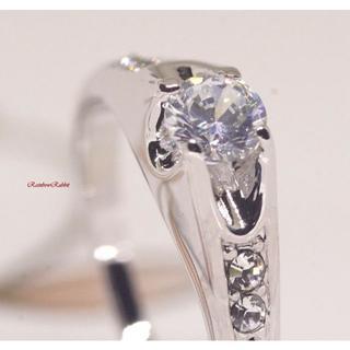 指輪 18K RGP プラチナ ダイヤ CZ 一粒 リング yu737e(リング(指輪))