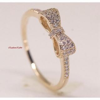 指輪 18K RGP ゴールド ダイヤ CZ リボン リング gu1407e(リング(指輪))