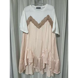 ダブルクローゼット(w closet)のwcloset 布帛ドッキングチュニックTシャツ(Tシャツ(半袖/袖なし))