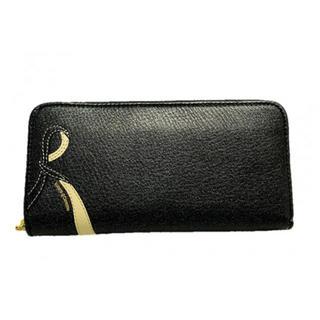 ロベルタディカメリーノ(ROBERTA DI CAMERINO)の新品 本革 長財布 ブラック レザー リボン(財布)