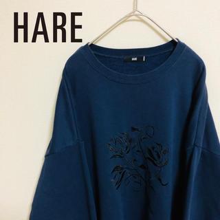 ハレ(HARE)のハレ スウェット 刺繍 花 オーバーサイズ ネイビー(スウェット)