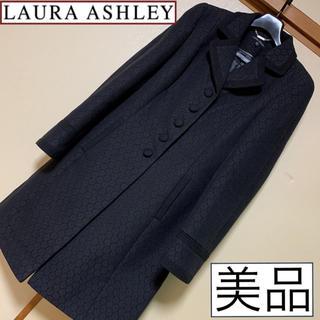ローラアシュレイ(LAURA ASHLEY)の美品♡ローラアシュレイ♡ロングコート 黒 ブラック 刺繍レース UK14(ロングコート)