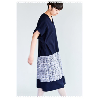 mina perhonen - ミナペルホネン good old ドレス ネイビー 36【新品】