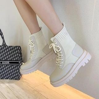 スタイルナンダ(STYLENANDA)のアンクルブーツ ショートブーツ 厚底 ホワイト 24.5cm 韓国 L リボン(ブーツ)