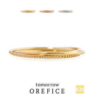 アガット(agete)の【オレフィーチェ】k18 トリプレット三連リング ミル打ち トリニティ 指輪(リング(指輪))