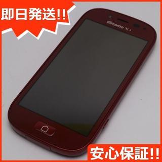 フジツウ(富士通)の美品 F-06F らくらくスマートフォン3 レッド (スマートフォン本体)