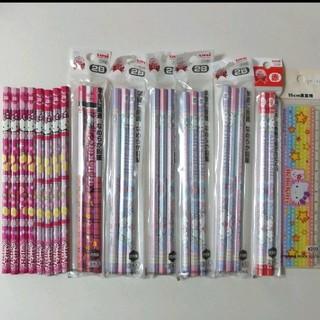 ミツビシエンピツ(三菱鉛筆)のハローキティ 鉛筆 2B 23本& 赤2本 & 定規 セット(鉛筆)