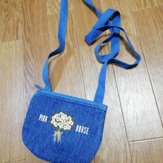 ピンクハウス(PINK HOUSE)のPINK HOUSE ☆ 刺繍ポシェット デニム(ボディバッグ/ウエストポーチ)