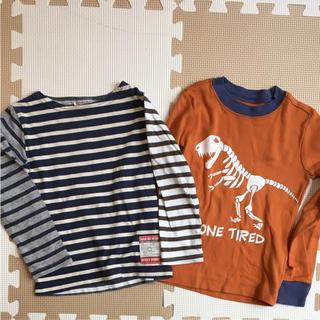 ニードルワークスーン(NEEDLE WORK SOON)のボーダー&恐竜 ロンT 2枚セット 100(Tシャツ/カットソー)
