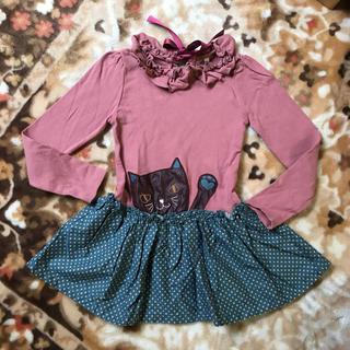 アニカ(annika)の韓国子供服 coco サイズ11 120㎝くらい FLO 猫ちゃん ひょっこり(Tシャツ/カットソー)