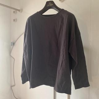 グレイル(GRL)のGRLグレーブラックドロップショルダーティーシャツ(Tシャツ(長袖/七分))
