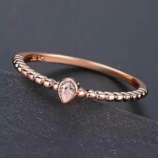 16号ローズゴールドシンプルリングczダイヤモンド(リング(指輪))