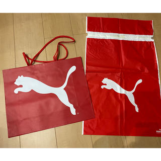 プーマ(PUMA)のPUMA ショップ袋 手提げ紙袋(赤)(ショップ袋)