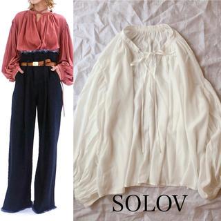 人気【SOLOV】カフタンボリュームブラウス ホワイト(シャツ/ブラウス(長袖/七分))