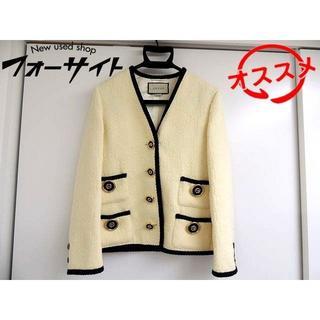グッチ(Gucci)のグッチ ノーカラー ジャケット ■ 577173 (36) ウール GG柄(ノーカラージャケット)