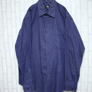 カルバンクライン(Calvin Klein)のカルバンクライン コットンシャツ ゆるだぼ パープル オーバーサイズ XLサイズ(シャツ)