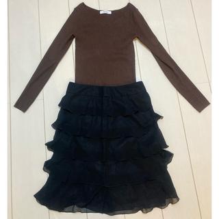 Noble - noble ブラックフリルスカート