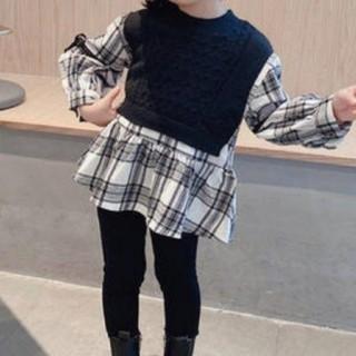 petit main - 韓国子供服 ペプラム ドッキングニット ギンガムチェックシャツ 100 新品