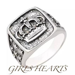 送料無料16号クロムシルバークラウン王冠リング指輪クロムハーツジャスティン好きに(リング(指輪))