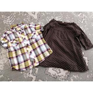 コムサイズム(COMME CA ISM)の2点 コムサイズム 半袖 シャツ チェック、ドット 長袖 カットソー  茶 80(シャツ/カットソー)
