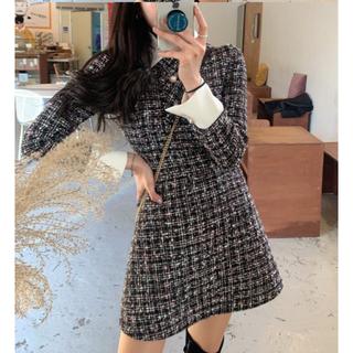 STYLENANDA - 【予約商品】<3SIZE> 襟付ツイードワンピース 韓国ファッション 秋服 冬服