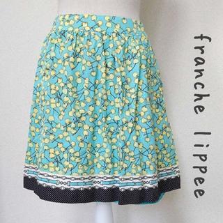 フランシュリッペ(franche lippee)の【franche lippee】さくらんぼ柄 スカート 緑 Mサイズ(ひざ丈スカート)