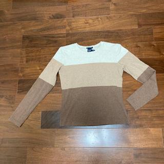 ギャップ(GAP)のGap  茶系ボーダーロンT XS(Tシャツ(長袖/七分))