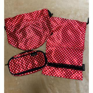 ワコール(Wacoal)のサルート ワコール ノベルティ エリザベス 巾着袋 ポーチなど3点 赤 ドット(ポーチ)