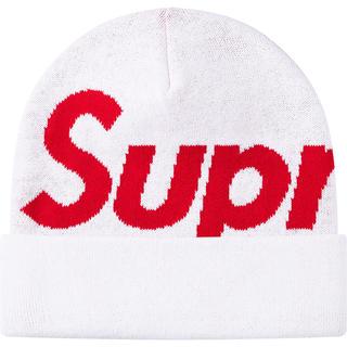シュプリーム(Supreme)の新品!送料込! supreme Big Logo Beanie WHITE(ニット帽/ビーニー)