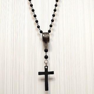 ロザリオ クロス ブラック ネックレス 十字架(ネックレス)