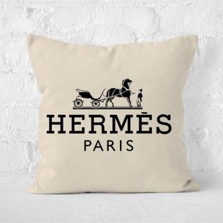 HERMES インポート ロゴ プリント クッションカバー
