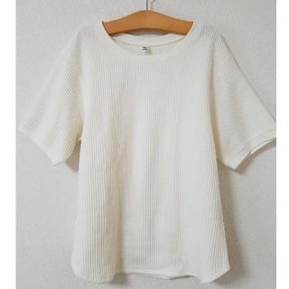 UNIQLO - ユニクロ ワッフル クルーネックT Tシャツ 白 ホワイト