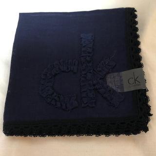 カルバンクライン(Calvin Klein)の未使用!カルバン クライン☆ロゴリボン刺繍ハンカチーフ 50×50 送料無料!(ハンカチ)